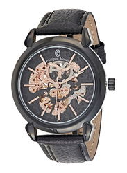 Philippe Moraly of Switzerland Analog Automatic Watch for Men with Leather Band, Water Resistant, LA1717BB, Black