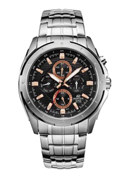 Casio Edifice Analog Watch for Men with Stainless Steel Band, Water Resistant and Chronograph, EF328D1A5, Silver-Black/Rose Gold
