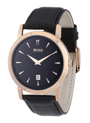 Hugo Boss Analog Watch for Men with Leather Band, Water Resistant, 1512635, Black