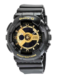 Casio Baby G Analog/Digital Watch for Women with Plastic Band, Water Resistant, BA1101A, Black-Gold
