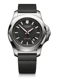 Victorinox Swiss Army Analog Wrist Watch for Men with Rubber Band, Water Resistant, 241682.1, Black