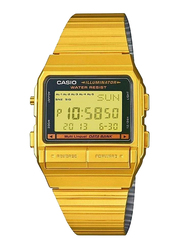 Casio Digital Watch for Men with Stainless Steel Band, Water Resistant, DB380G1DF, Gold