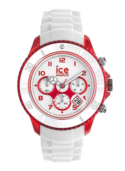 Ice Watch Analog Watch for Men with Silicone Band, Water Resistant and Chronograph, CHWRDBBS13, White-Red