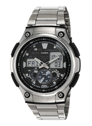 Casio Analog/Digital Watch for Men with Stainless Steel Band, Water Resistant, AQ190WD1AVDF, Silver-Black