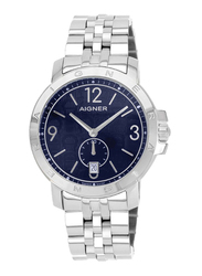 Aigner Analog Watch for Men with Stainless Steel Band, Water Resistant with Date Display, A09034, Silver-Blue