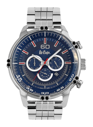 Lee Cooper Analog Watch for Men with Stainless Steel Band, Water Resistant and Chronograph, LC06549.390, Silver-Blue