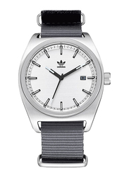Adidas Analog Watch for Men with Nylon Band, Water Resistant, Z09295700, Grey-White