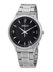 Seiko Analog Watch for Men with Stainless Steel Band, Water Resistant, SGEH81P1, Silver-Black