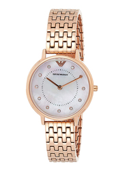 Emporio Armani Analog Watch for Women with Metal Band, Water Resistant and Mother of Pearl Dial, AR11006, Rose Gold-Off White