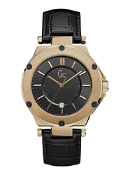 GC Analog Watch for Men with Leather Band, Water Resistant, X12001G2S, Black