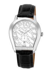 Aigner Analog Watch for Men with Leather Band, Water Resistant with Date Display, A111117, Black-White