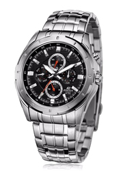 Casio Edifice Analog Watch for Men with Stainless Steel Band, Water Resistant and Chronograph, EF328D1A, Silver-Black