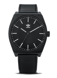 Adidas Analog Watch for Men with Leather Band, Water Resistant, Z0575600, Black