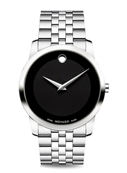 Movado Classic Analog Watch for Men with Stainless Steel Band, Water Resistant, 606504, Silver-Black
