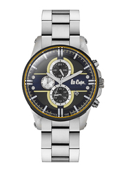 Lee Cooper Analog Watch for Men with Stainless Steel Band, Water Resistant and Chronograph, LC06535.360, Silver-Dark Blue
