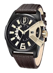 Police Analog Watch for Men with Leather Band, Water Resistant, P14340JSBG-02, Brown- Black