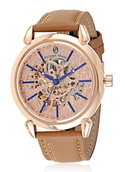 Philippe Moraly of Switzerland Analog Automatic Watch for Men with Leather Band, Water Resistant, LA1717ROO, Tan-Rose Gold