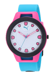 Puma Analog Wrist Watch for Women with Silicone Band, Water Resistant, P1012, Blue-White