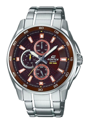 Casio Edifice Analog Watch for Men with Stainless Steel Band, Water Resistant and Chronograph, EF334D5A, Silver-Brown