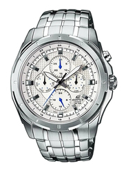 Casio Edifice Analog Watch for Men with Stainless Steel Band, Water Resistant and Chronograph, EF328D7A, Silver-White
