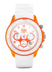 Ice Watch Analog Watch for Men with Silicone Band, Water Resistant and Chronograph, CHWOEBBS13, White-Orange