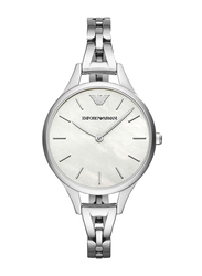 Emporio Armani Analog Watch for Women with Stainless Steel Band, Water Resistant, AR11054, Silver-Off White