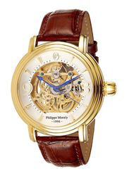 Philippe Moraly of Switzerland Analog Automatic Watch for Men with Leather Band, Water Resistant, LA1431GWO, Brown-White