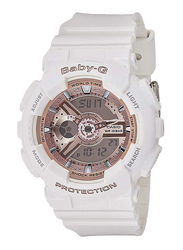 Casio Baby G Analog/Digital Watch for Women with Plastic Band, Water Resistant, BA1107A1, White-Rose Gold