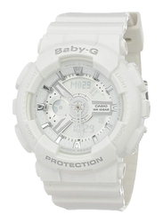 Casio Baby G Analog/Digital Watch for Women with Plastic Band, Water Resistant, BA1107A3, White-Silver