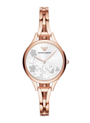 Emporio Armani Analog Watch for Women with Stainless Steel Band, Water Resistant, AR11108, Rose Gold-Silver
