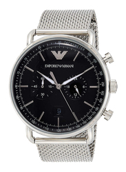 Emporio Armani Analog Watch for Men with Stainless Steel Band, Water Resistant and Chronograph, AR11104, Silver-Black