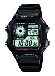 Casio Digital Watch for Men with Resin Band, Water Resistant, AE1200WH1AVDF, Black