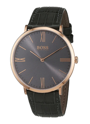 Hugo Boss Analog Watch for Men with Leather Band, Water Resistant, 1513372, Black