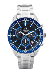 Casio Edifice Analog Watch for Men with Stainless Steel Band, Water Resistant and Chronograph, EFR552D1A2, Silver-Blue/Black