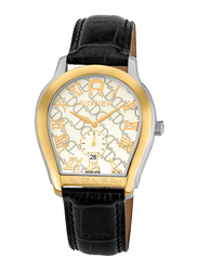 Aigner Analog Watch for Men with Leather Band, Water Resistant with Date Display, A111118, Black-Gold/White