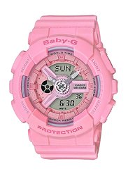Casio Baby G Analog/Digital Watch for Women with Plastic Band, Water Resistant, BA1104A1, Pink