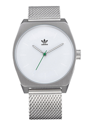 Adidas Analog Watch for Men with Stainless Steel Band, Water Resistant, Z02324400, Silver-White