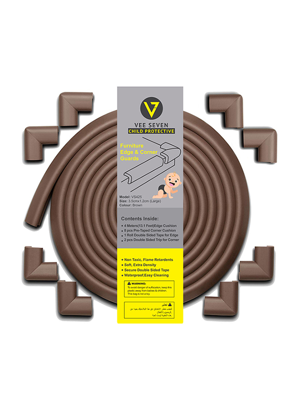 Vee Seven Child Protective Furniture Edge & Corner Guards with 8-Piece Pre Tape Corner Cushion, Large, Brown