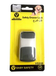 Vee Seven Child Protective Drawer Lock, White/Grey