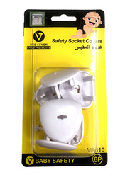 Vee Seven Child Protective Safety Socket Cover, 6 Pieces, White