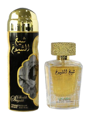 Lattafa 2-Piece Sheikh Al Shuyukh Luxe Edition Gift Set for Men, 100ml EDP, 200ml Deodorant