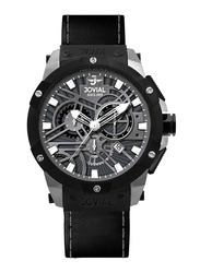 Jovial Analog Watch for Men with Leather Strap, Water Resistant and Chronograph, 16075 GBLC 13 E, Black