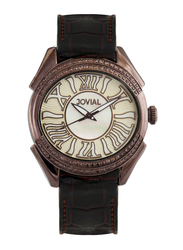 Jovial Fashion Analog Watch for Women with Leather Band, Water Resistant and MOP HMSD, 4804 LCLQ 31 ZE, Brown-Off White