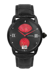 Jovial Analog Watch for Men with Leather Band, Water Resistant, 6606 GBLQ 13 E, Black