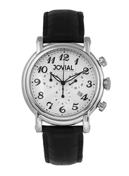 Jovial Analog Watch for Men with Leather Band, Water Resistant and Chronograph, 6618 GSLC 11, Black-White