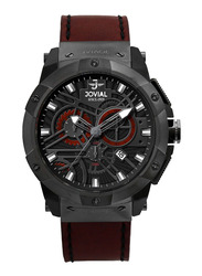 Jovial Analog Watch for Men with Leather Strap, Water Resistant and Chronograph, 16075 GBLC 13 E, Red-Black