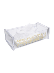 Al Hoora Acrylic Golden Design Tissue Box Holder, AC35062, Clear