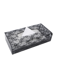 Al Hoora Acrylic Rose Design Tissue Box Holder, AC36332, Black