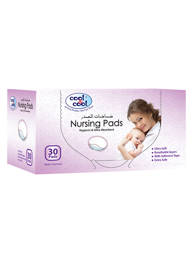 Cool & Cool Hygienic & Ultra Absorbent Nursing Pads, 30 Sheets, White