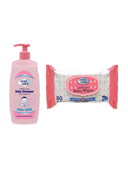 Cool & Cool 500ml Shampoo for Babies, with 80 Sheets Wipes, Pink